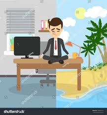meditation businessman office. Meditation And Relaxing. Businessman Sitting In A Lotus Pose Meditate Imagining Sunny Beach, Office S