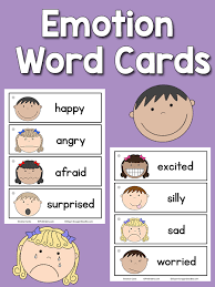 Emotion Chart For Kids Emotion Word Cards Prekinders