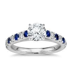 riviera pav sapphire and diamond engagement ring in platinum