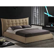 Baxton Studio Marguerite Linen Platform Bed With Headboard  Bed Linen Platform Bed
