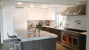 queens ny modern kitchen design open concept wood laminate and white lacquer
