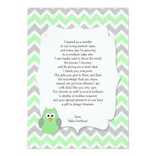 Mint Green Owl Baby Shower Thank You Notes W Poem Card  ZazzlecomOwl Baby Shower Thank You Cards