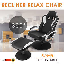 2018 recliner and ottoman set pu leather swivel recliner chair racing car seat recling chair with ottoman armchair footrest stool from sihao