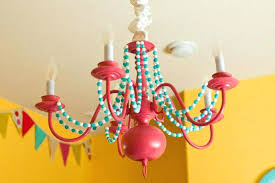 colorful chandelier carnival inspired spray paint plastic colored crystals
