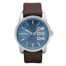 sel double down 46 for men blue dial leather band watch dz1512