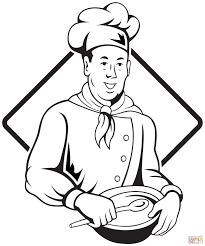Chef Kok Met Lepel En Kom Kleurplaat Gratis Kleurplaten Printen