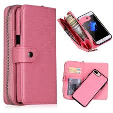 removable wallet phone case for iphone 6 6s 7 8 plus x xr xs max pu leather litchi protective shell card slot purse lanyard back cover cell phone case