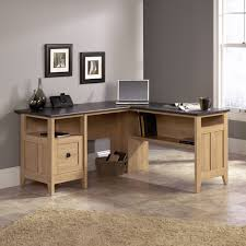 charming wooden l shaped desk by sauder furniture on tile floor which matched with gray wall charming home office light