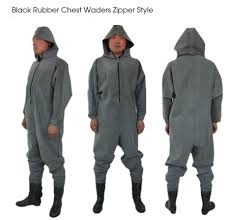1mm <b>Black Rubber Zip</b> Fishing Waders with Diving Socks ...