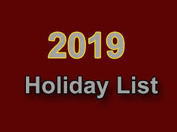 Image result for holiday list 2019