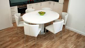 modern round white gloss extending dining table and chairs seats 4 6 stylish extendable dining table