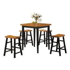 acme furniture gaucho 5 piece oak and black bar table set