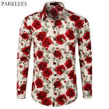 Stylish <b>Floral</b> Print <b>Shirt Men</b> Button Down Rose <b>Flower Mens</b> White ...