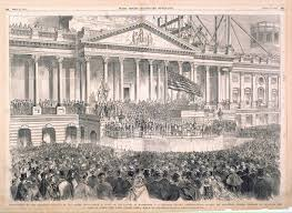 The inaugural address of president abraham lincoln, delivered at the national capitol.washington, d. U S Senate Inauguration Of The Sixteenth President Of The United States Scene In Front Of The Capitol At Washington D C Abraham Lincoln President Elect Reading His Inaugural Address Previous To Receiving The Oath Of Office