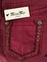 Kids Miss Me Jeans Size Chart Miss Me Girls Kids Size 10 Burgundy Embellished Skinny
