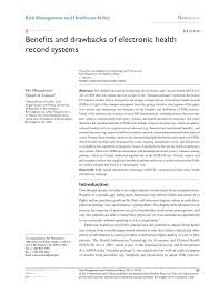 Pdf Benefits And Drawbacks Of Electronic Health Record Systems