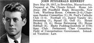 fast facts about john f kennedy john f kennedy presidential  fy p30 john f kennedy s harvard college yearbook entry