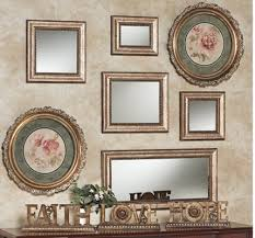 highlight round framed wall art with rectangle and square framed mirrors set above a console table and tabletop accents we chose a simple framed mirror set  on rectangular framed wall art with decorating your wall with accent mirrors touch of class