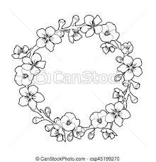 Graphic Sakura Wreath Traditional Symbol Of Spring In Japan Vector