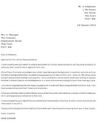 Sales Representative Job Application Cover Letter Example Icover