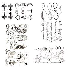 Black Small Letter Endless Temporary Tattoo Women Party Fake Body
