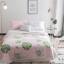 quilted bed covers. Simple Bed Sweet Pink Quilted Bed Covers For Adults 100 Cotton Green Leaves Pattern  Printed Summer Blanket Multi Size Bedspread Home Oversized King Bedspreads  And T