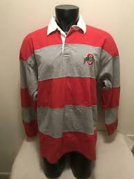 ohio state buckeyes striped rugby pro player long sleeve shirt mens size xl