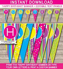 Birthday Banner Printable Colorful Banner Template