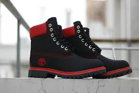 mens womens winter snow boots timberland 6 inch nubuck leather black red