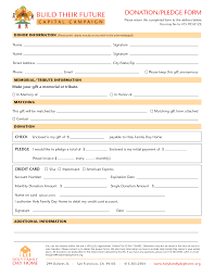 pledge form template donation pledge form template