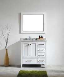 White Floor Bathroom Cabinet 36 Inch White Bathroom Vanity With White Carrera Marble Top