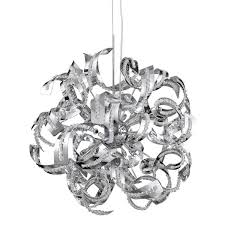 sparkles chrome 9 light pendant with acrylic ribbon design 6299 9cc