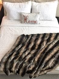 gray silver taupe black chinchilla fake faux fur blanket throw comforter bedspread shams