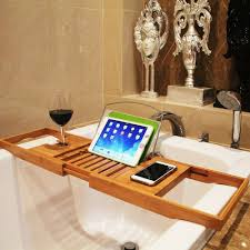 details about extendable bamboo wood bath caddy bath tub rack bridge tray shelf tidy holder