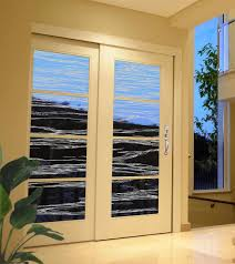 waves design sandblasted onto transpa frosted glass doors