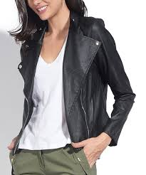 womens black black asymmetrical zip faux leather jacket alternate image 3