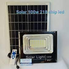 Đèn led pha năng lượng mặt trời 100w IP67 có remote tấm pin rời dây dài 5m  - Bảo hành 12 tháng