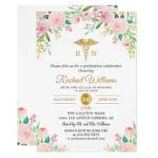Nursing Graduation Party Invitations Pink Watercolor Floral Gold Nurse Graduation Party Invitation
