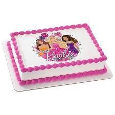 Amazoncom Barbie Glitter Birthday Licensed Edible Cake Topper