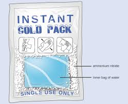 a diagram depicts a rectangular pack containing a white solid substance and an interior bag