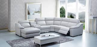 Modern leather sectional sofas Extra Large La Furniture Store Saffron Modern Leather Sectional Sofa W Beverage Console And Recliners