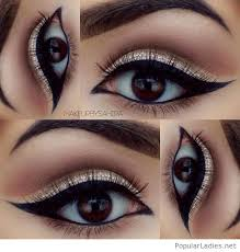 gold glitter eye make up with black for brown eyes