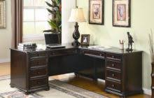 classic dark brown stained oak wood corner home office desk which equipped with drawers awesome corner office desk