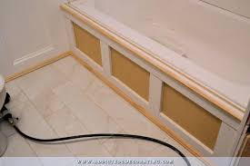 diy tub skirt step 5 add vertical trim and decorative moulding along top and