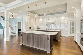 beautiful rich two tone kitchen with kitchens with two islands
