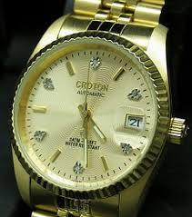croton men s automatic 6 diamond gold tone watch collection croton men s automatic 6 diamond gold tone bracelet watch cr307699ylcd