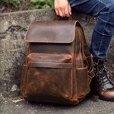 crazy horse leather backpack laptop bag school bag shoulder bag gift bover backpacks i