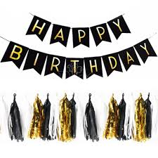 Black Happy Birthday Black Happy Birthday Bunting And Tassel Package