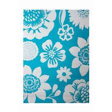 garden treasures turquoise rectangular indoor outdoor machine made tropical area rug common