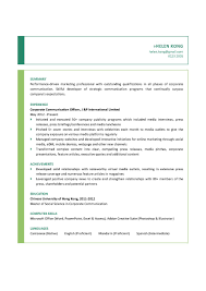 Communications Resume Resumes Major Objective Pr Examples